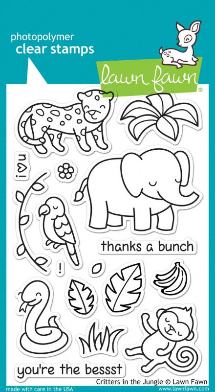 LF0803  ~  CRITTERS IN THE JUNGLE ~ CLEAR STAMPS BY LAWN FAWN